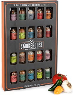 Thoughtfully Gifts, Smokehouse Ultimate Grilling Spice Set, Grill Seasoning Gift Set Flavors Include Chili Garlic, Rosemary and Herb, Lime Chipotle, Cajun Seasoning and More, Pack of 20