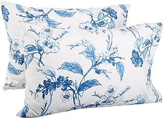 Pinzon Signature 190 Gram Cotton Heavyweight Velvet Flannel Pillowcases, Standard, Floral Smoky Blue