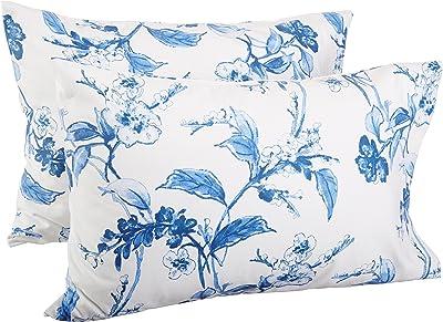 Amazon Brand – Pinzon Signature 190-Gram Cotton Heavyweight Velvet Flannel Pillowcases, King, Floral Smoky Blue
