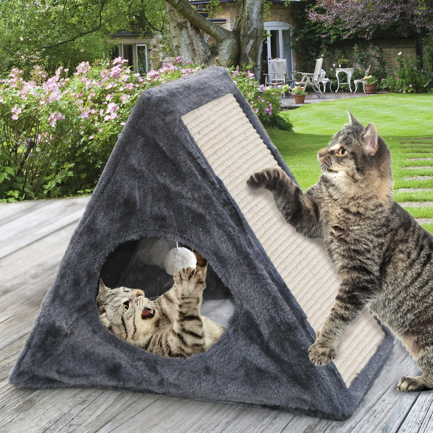 Etna Indoor Outdoor Foldable Cat Condo  Collapsible Plush Feline Habitat with Builtin Scratch Pad and Hanging Ball Toy