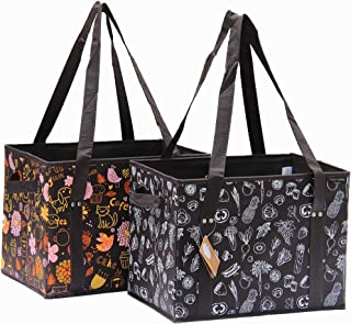 PreserveNext Reusable Classic Tote/Collapsible Shopping Box Set with Reinforced Bottom, Side Handles and Key Ring Clasp - Brown - Assorted (2 Pack)