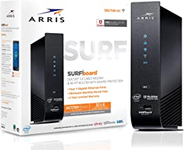 $84 » ARRIS SURFboard (32x8) DOCSIS 3.0 Cable Modem Plus AC1750 Dual Band Wi-Fi Router, 1.4 Gbps Max Speed, Certified for Comcast Xfinity, Spectrum, Cox & more (SBG7580AC McAfee) (Renewed)