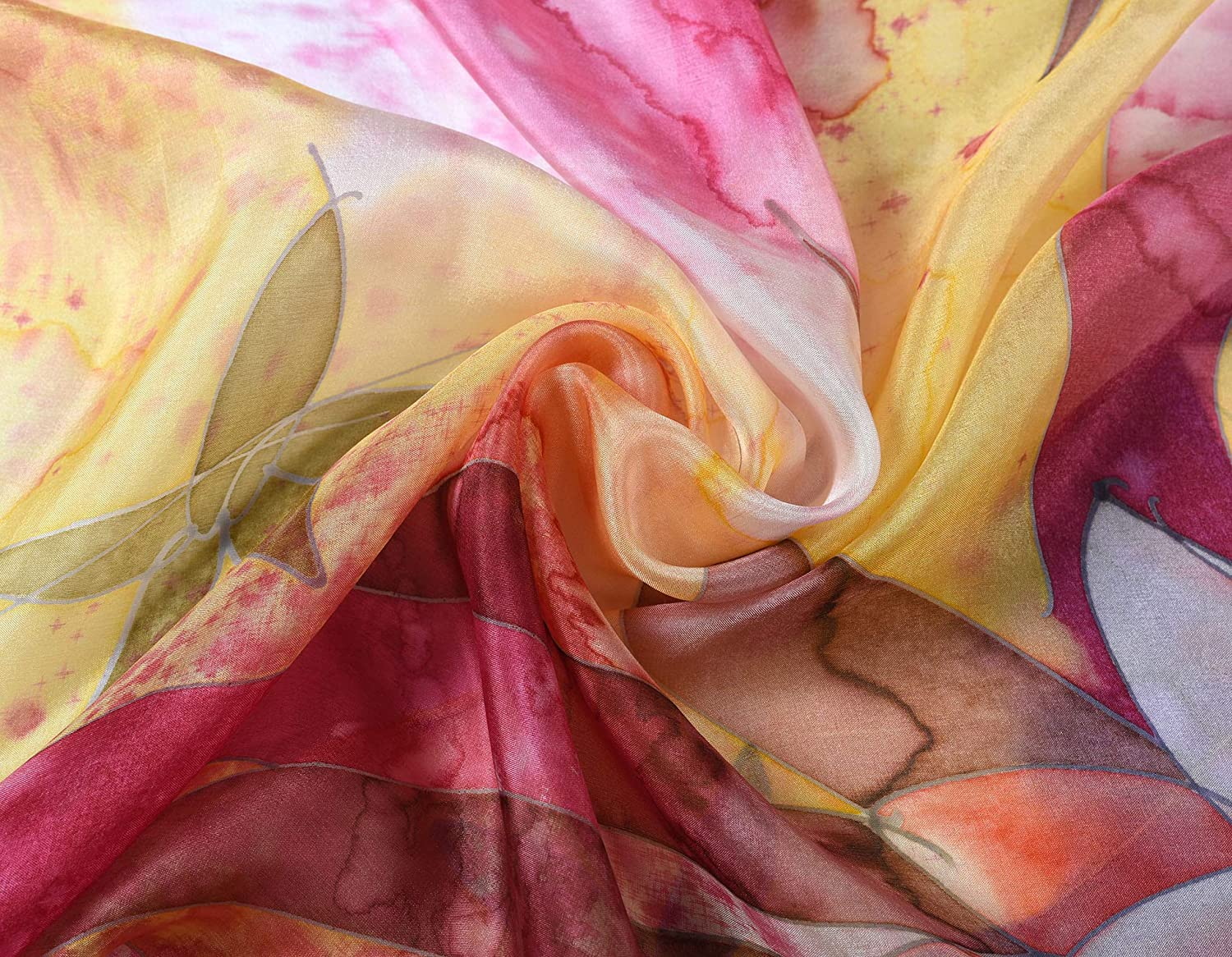 Invisible World Women's 100% Silk Scarf Hand Painted Square