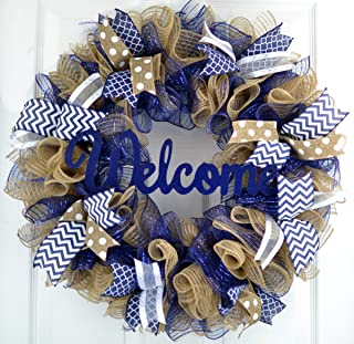 Navy Blue Welcome Wreath | Burlap Decor | Mother's Everyday Christmas Gift | Bridal Shower Present
