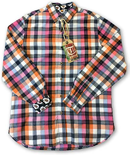 Tailor Vintage Shirt in rose and Orange Check - M