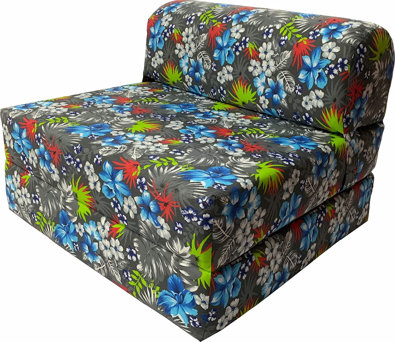 DD Futon Furniture OFFer Tropical Flowers Folding Quality inspection Blue Sleeper Chair