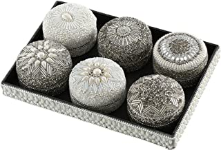WHW Whole House Worlds White Nights Jewelry Boxes and Tray, Set of 7, Hand Crafted, Beaded, Faux Pearl, Silver Glass Seed and Bugle Bead Details Lids Included, 10.25 Inches Long