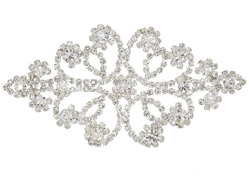SHINYTIME Crystal Rhinestones Beaded Applique Patches Silver Wedding sash Bridal Belts and Bridal Headpiece 3.7X1.9 inches Valentines Ideas for her