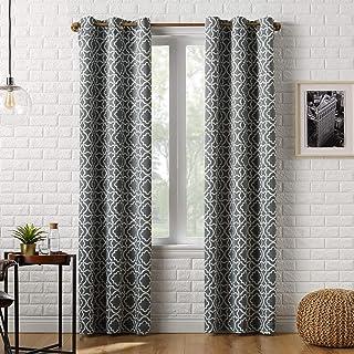 "Sun Zero Barnett Trellis Blackout Grommet Curtain Panel, 40"" x 84"", Gray"