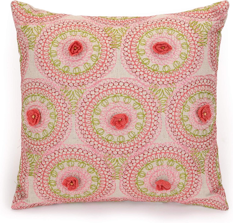 Jessica Simpson Amrita Medallion Decorative Pillow Crochet Flowers 16X16'' Pink