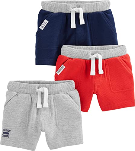 Carters Set of 2 Boys Cotton Pull On Shorts Toddler Little and Big Boys 2T, Dark Grey and Navy Blue