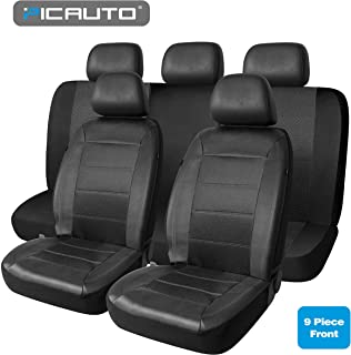 PIC AUTO Universal Fit Full Set Mesh and Leather Car Seat Cover(Black)