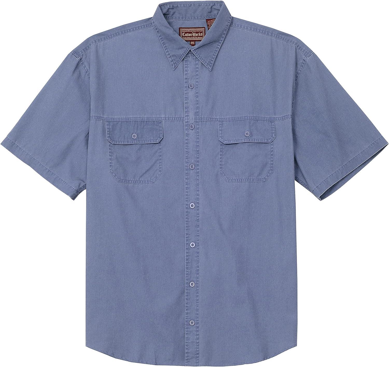 Falcon Bay Big and Tall Washed Solid 2 Pocket Shirt