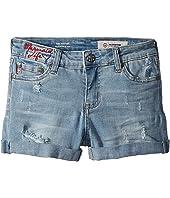 The Heather Roll Cuff Shorts in Light Blue Blast (Big Kids)