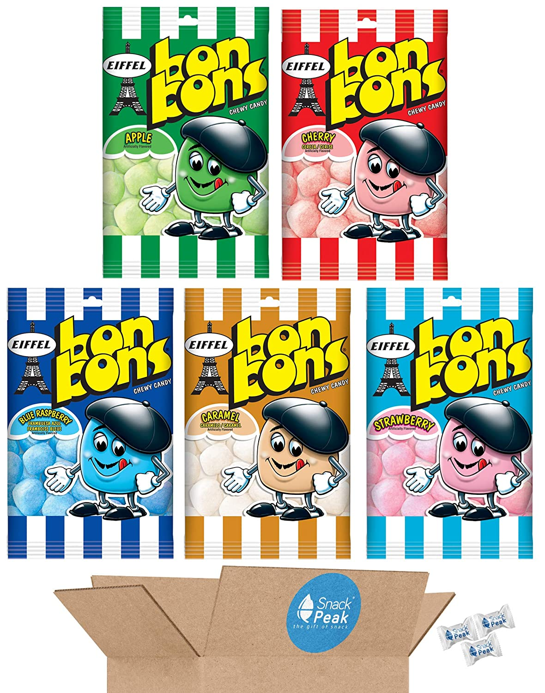 Eiffel Bonbons Snack Peak Variety Gift Box – Cherry, Caramel, Blue Raspberry, Apple, Strawberry