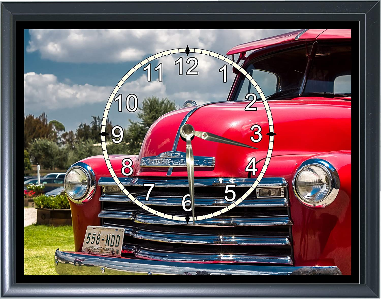 1950's Chevy Pick Up Truck Front Boston Mall End Wall Clock or 7 Reservation Plaque Desk