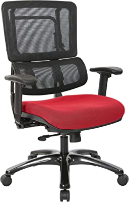 Office Star Vertical Mesh Back Managers Chair with Shiny Black Base, Rouge
