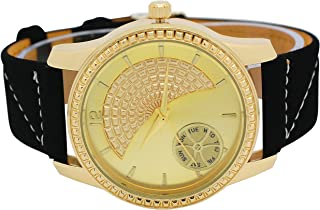 Mens Ice Master Diamond-Cut Bezel Designer Face Gold and Gold with Black Suede Leather Band