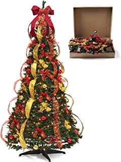Christmas Tree Fully Decorated Pre-lit 6 Ft Pull Up Pop Up Out of Box Ready Minimal Assembly Needed Christmas Tree Holiday Decorations w/ 350 Warm Lights with Stand