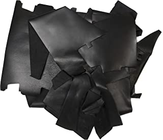 Rustico 2lb Box of Black Colored Top Grain Leather Remnants and Leather Scraps in Form USA Raised Cows, 2 – 3 MM Thick (4.5-5.5 Ounces) Leather for Crafts