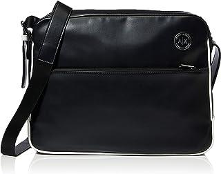 A X Armani Exchange AX Eco Leather Messenger Bag, Black/White, OS