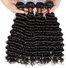 BLACKMOON HAIR(TM) Brazilian Hair 4 Bundles Weaves Virgin Unprocessed Deep Wave Human Hair 18 20 22 24 inches Brazilian Deep Wave Hair Natural Black Color
