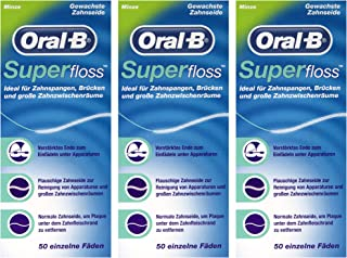3 x Superfloss con seda dental de menta 50 hilos