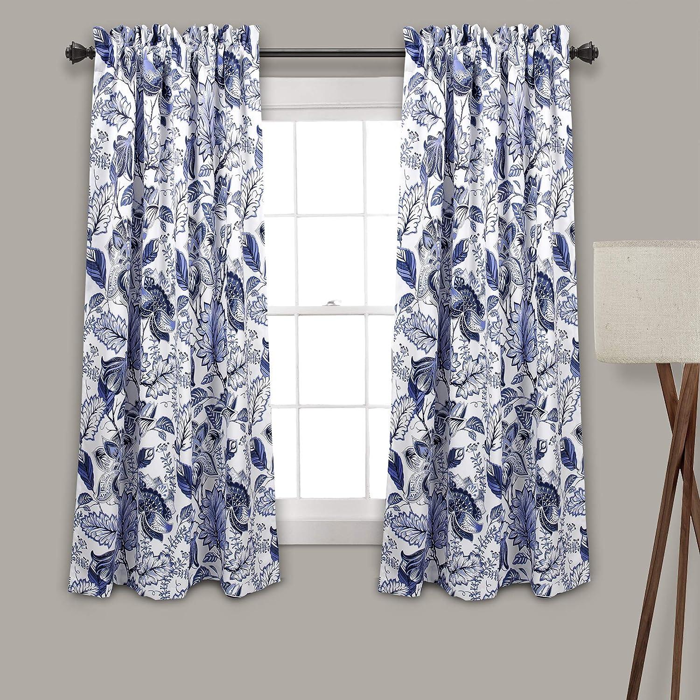 Lush Decor Cynthia Jacobean Darkening Window Curtains Panel Set for Living, Dining Room, Bedroom (Pair), 63  L, bluee