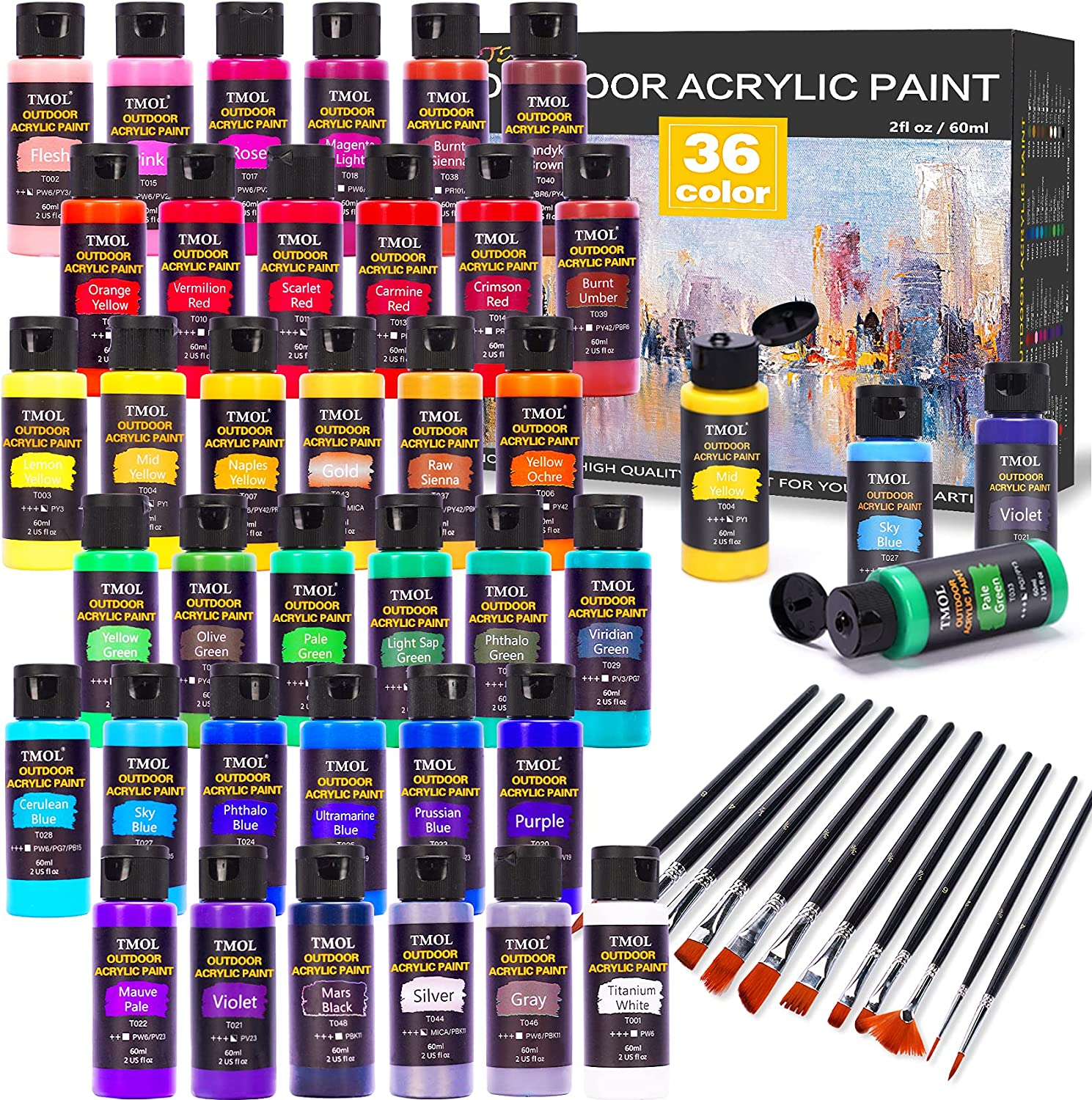 Outdoor Acrylic Popular shop is the lowest price challenge Paint Set 36 Colors Year-end annual account 2 Bottle with 12 oz Art B