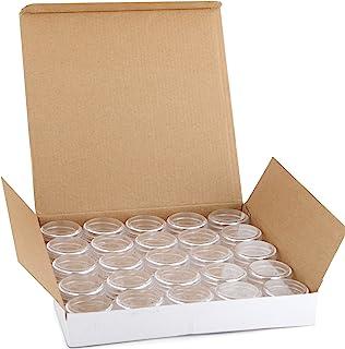 Vivaplex, 25 Clear, 20 Gram Plastic Pot Jars, Cosmetic Containers, With Lids.