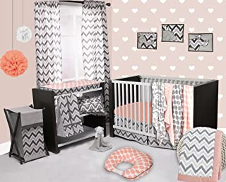 Bacati - Coral/grey Ikat Chevron Muslin 10 Pc Crib Set With 2 crib sheets (Bumper Pad not included)