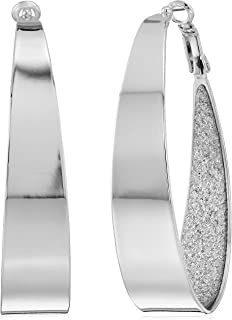 Large Oval Glitter Hoop Earrings