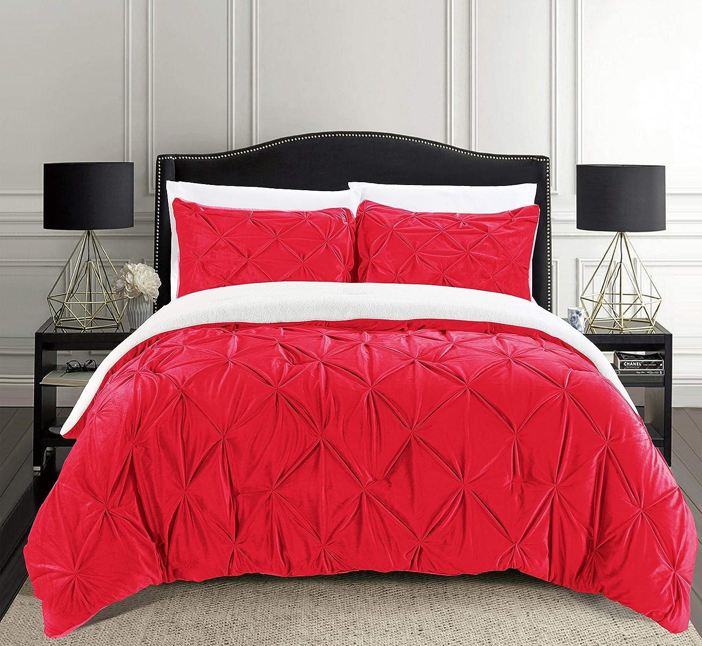 Premium Down Alternative Micro-Suede 3-Piece Reversible Comforter Set Full//Queen Elegant Comfort Softest Coziest Micromink Pintuck /& Pinch Pleated Sherpa Comforter Set Black