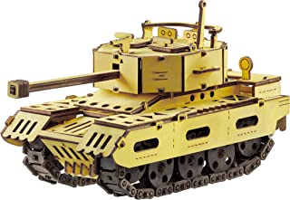 3D Wooden Puzzle for Adults & Teens Gifts - 3D Mechanical Model DIY Construction Kit - Tank