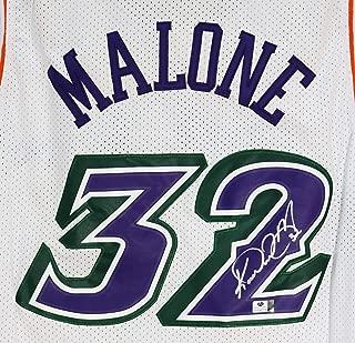 Karl Malone Utah Jazz Signed Autographed White #32 Jersey COA