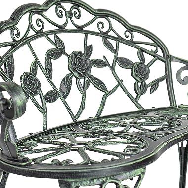 Patio Premier 213054 Rose Garden Park Bench, Verdigris
