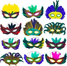 12 Piece Mardi Gras Feather Mask Assortment - Feather Masquerade Half Party Masks