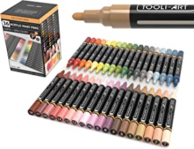 36 Acrylic Paint Pens Skin and Earth Tones Marker Set 3mm Medium Tip For Rock Painting, Canvas, Most Surfaces. Non-Toxic, ...