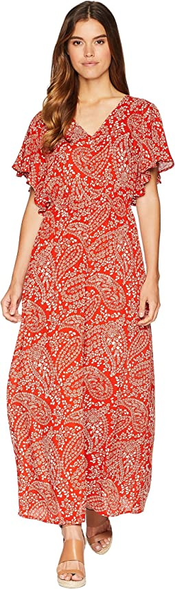 "Electric Feels ""Paisley Scarf"" Printed Wrinkle Rayon Dress with Shorts"