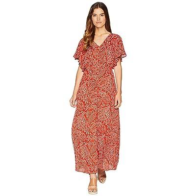 Jack by BB Dakota Electric Feels Paisley Scarf Printed Wrinkle Rayon Dress with Shorts (Burnt Orange) Women