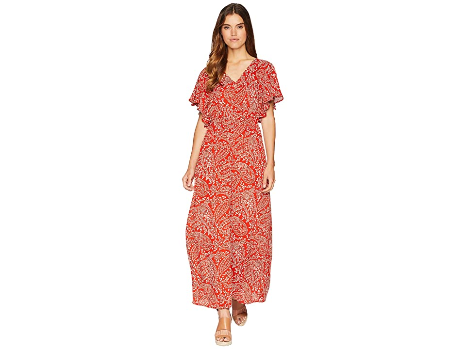 Jack by BB Dakota Electric Feels Paisley Scarf Printed Wrinkle Rayon Dress with Shorts (Burnt Orange) Women