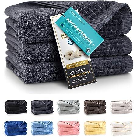 herzbach home Handtuch Seiftuch 3er-Set Premium Qualit/ät aus 100/% /ägyptischer Baumwolle 33 x 33 cm 600 g//m/² extra weich Anthrazit
