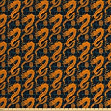 Lunarable Dragon Fabric by The Yard, Orange Toned Fantasy Folk Dragons of The Chinese Art on Dark Blue Symbolic, Decorative Fabric for Upholstery and Home Accents, 3 Yards, Orange Indigo