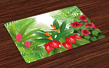 Lunarable Leaf Place Mats Set of 4, Tropical Exotic Forest Hibiscus Red Ginger and Anthurium Flowers, Washable Fabric Placemats for Dining Room Kitchen Table Decor, White Dark Green and Hot Pink