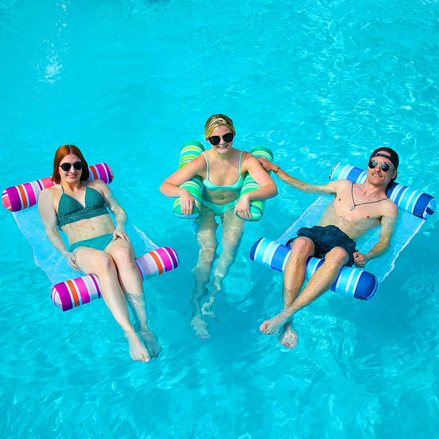 Sloosh 3 Pack Inflatable Pool Float Hammock, Water Hammock Lounges, Multi-Purpose Swimming Pool Accessories (Saddle, Lounge Chair, Hammock, Drifter) for Pool, Lake, Outdoor, Beach : Toys & Games