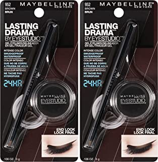 Maybelline New York Eyestudio Lasting Drama Gel Liner Makeup, Brown, 2 Count