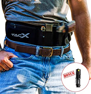 TacX Pro Gear Concealed Carry Gun Holster: Top Rated Belly Band + Tactical LED Light | Adjustable, Zippered, Waterproof Neoprene | IWB/OWB Pistol Waist Belt for Running, Hiking, Camping