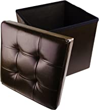 "Red Co. Faux Leather Folding Cube Storage Ottoman with Padded Seat, 15"" x 15"" - Espresso"