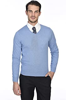 e62254e9d2 State Cashmere Men's 100% Pure Cashmere Long Sleeve Pullover V Neck Sweater