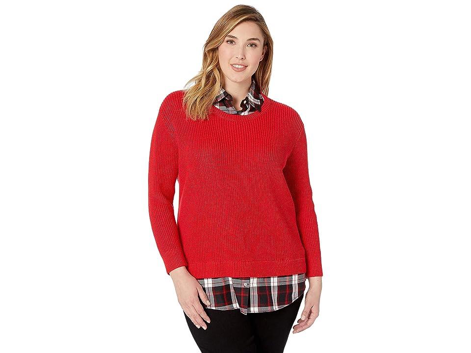 LAUREN Ralph Lauren Plus Size Layered Shirt (Lacquer Red) Women